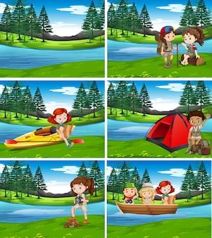 自然のキャンプ子供たち