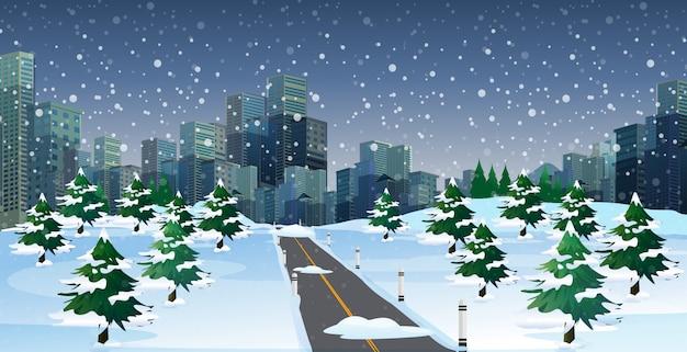 冬の夜の街並みの風景