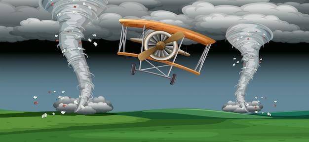 悪天候の飛行機