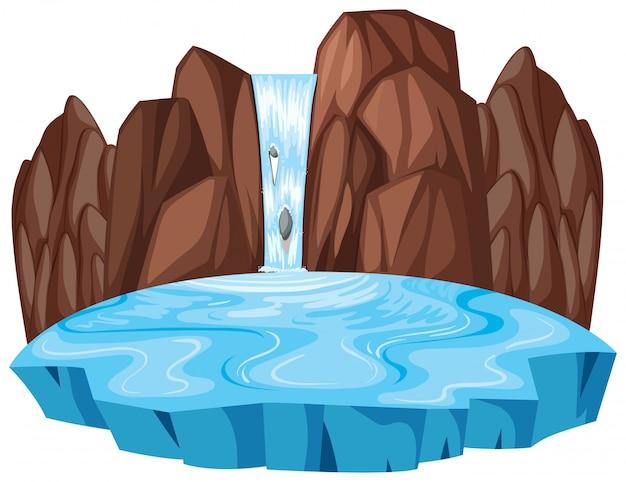 孤立した自然の滝の風景