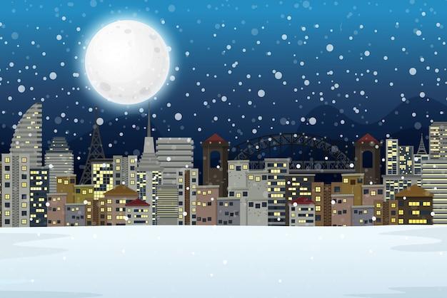 冬の夜市の風景