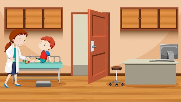 傷ついた少年を助ける医師