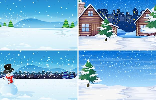 Набор зимнего фона на открытом воздухе