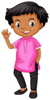 ピンクのシャツでインドの男の子