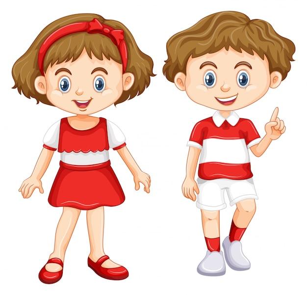 少年少女赤と白のストライプのシャツを着て