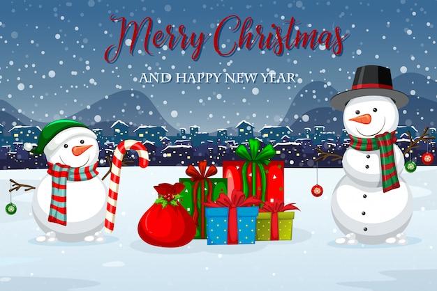 メリークリスマスの冬のテンプレート