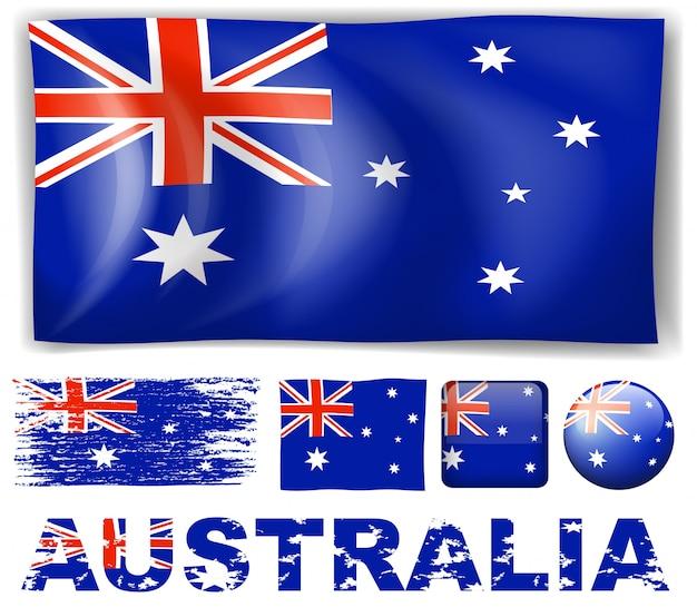 異なるデザインのオーストラリアの旗イラスト