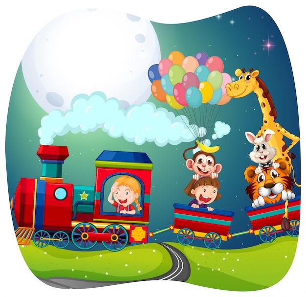 列車の女の子と動物