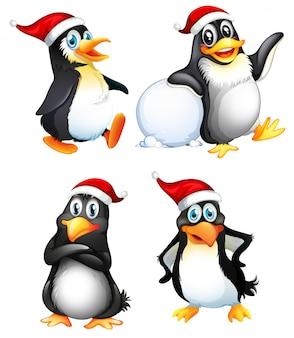 かわいいペンギンキャラクターのセット