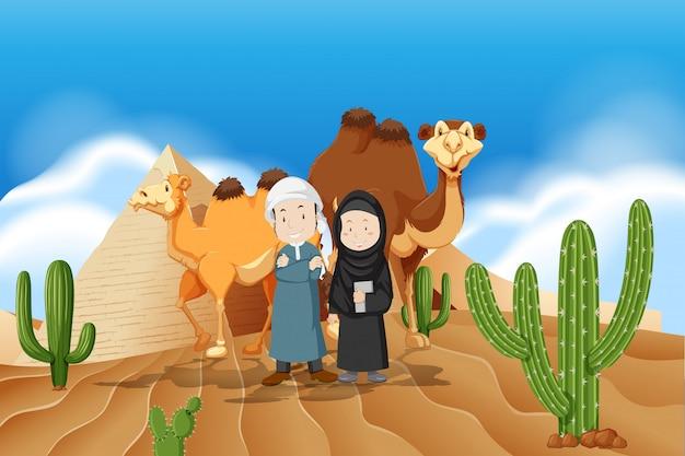 砂漠のアラビア人カップル