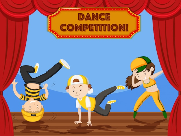 ステージで子供たちが踊りを競う