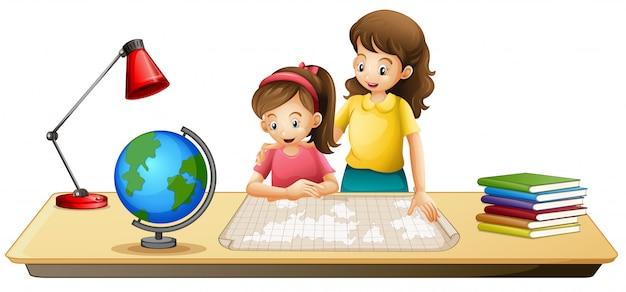 女の子、見る、テーブル、地図