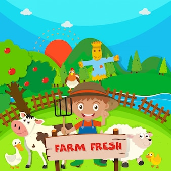農家と農場の動物