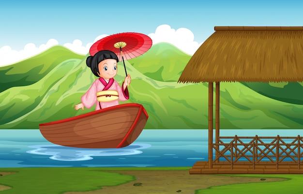 自然の中の伝統的な日本の女の子