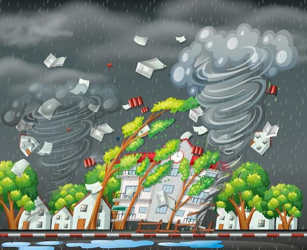 破壊的なトルネードの都市のシーン