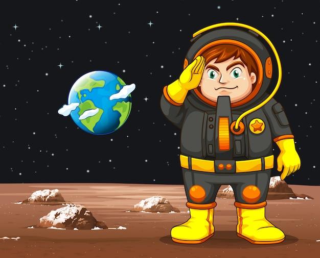 地球上に立っている黒人宇宙飛行士の宇宙飛行士