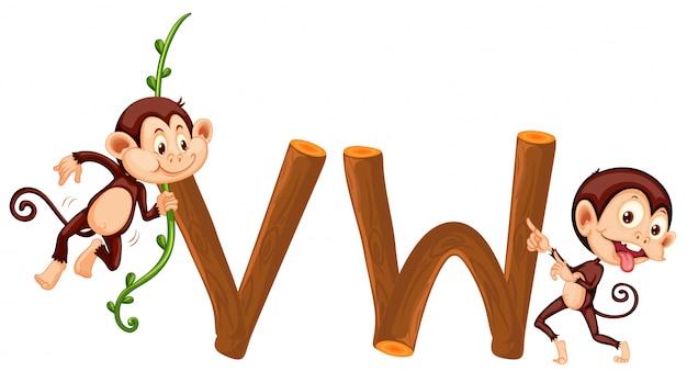 Обезьяна и деревянный алфавит