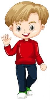 Симпатичный мальчик машет рукой