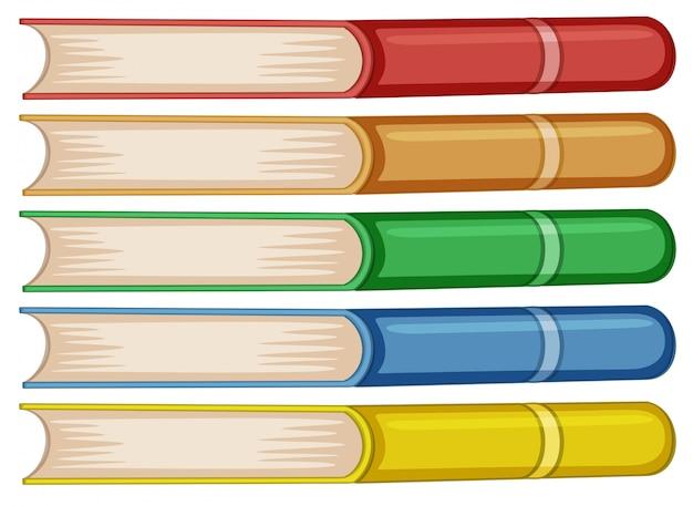 異なる色の本のセット