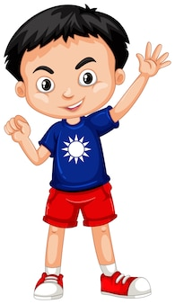 青いシャツの台湾の男の子