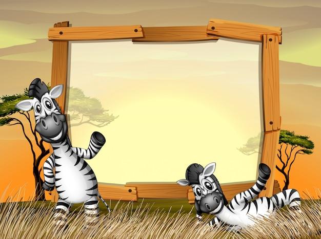 Граничный дизайн с двумя зебрами в поле