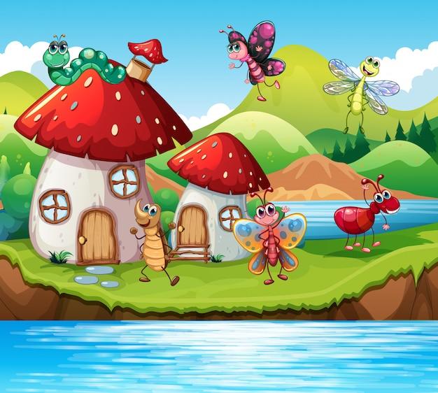 魔法のキノコの家の昆虫