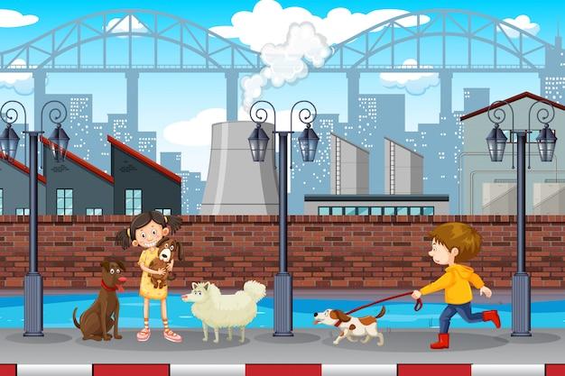 子供とペットの都市のシーン