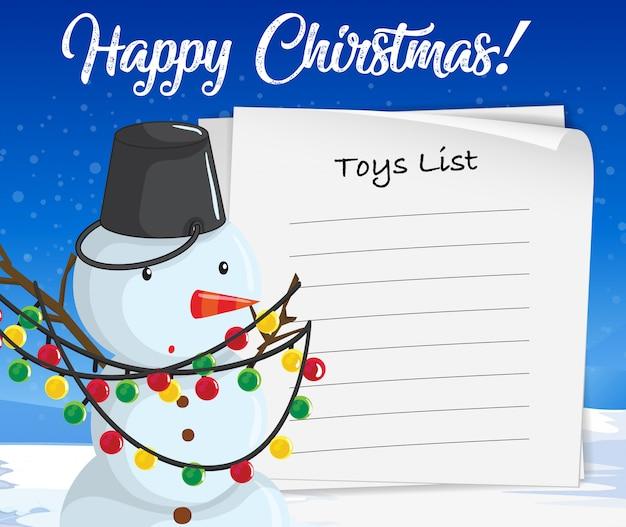 メリークリスマスおもちゃリスト雪だるまコンセプト
