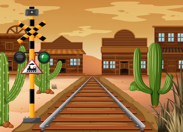西部の町の電車の軌跡を描く場面