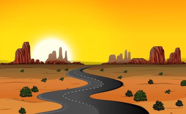 砂漠の道路の背景