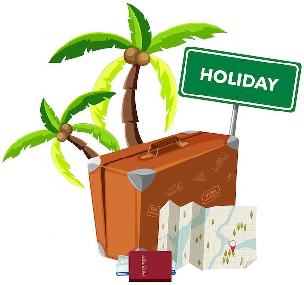 白い背景に休暇のオブジェクト