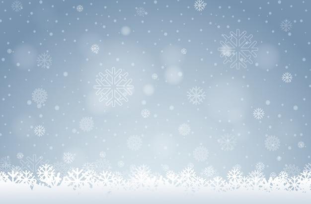 白い雪片の背景