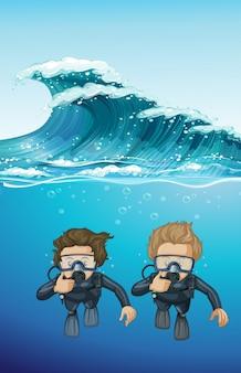 Два дайвера под океаном