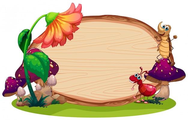 木のボード上の昆虫