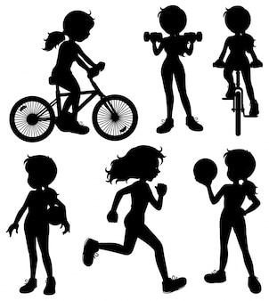 Иллюстрация силуэт девушка делает различные виды спорта