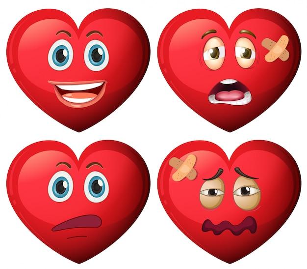 心臓キャラクターのセット