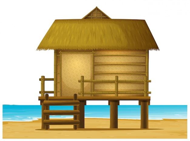 ビーチの木製バンガロー