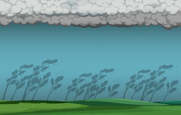 自然の雷雨のシーン