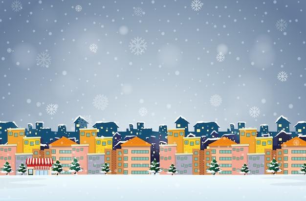 冬の背景の村