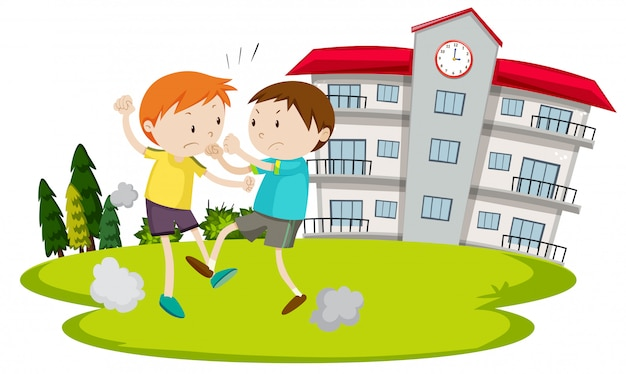 若い男の子、学校の前で戦っている