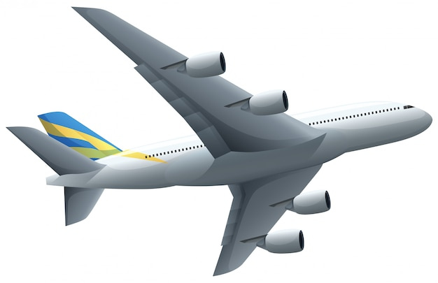 白い背景を飛んでいる飛行機