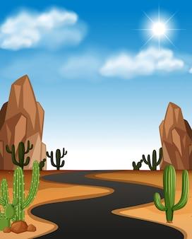道路とサボテンの砂漠の風景