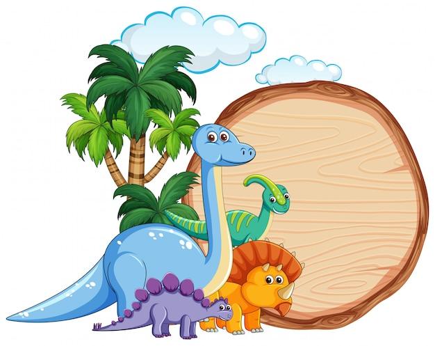 木製の旗の上に多くの恐竜