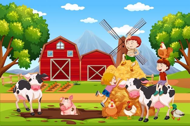 農地での子供と動物