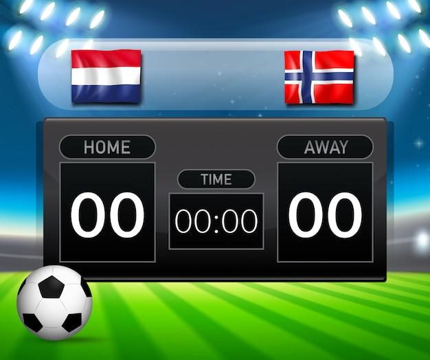 オランダ対ノルウェーサッカースコアボード