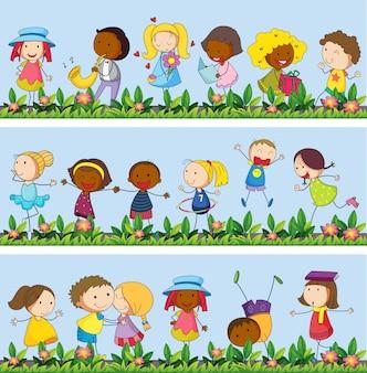 庭のイラストで遊んでいる子供たち