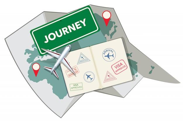 パスポートスタンプと地図