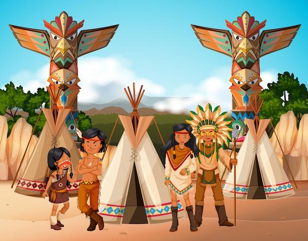 キャンプサイトのアメリカ先住民