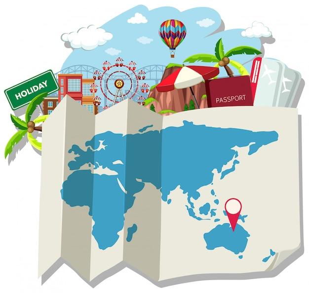 Изолированная карта и местоположение