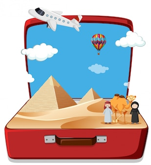 Сцена пустыни в чемодане